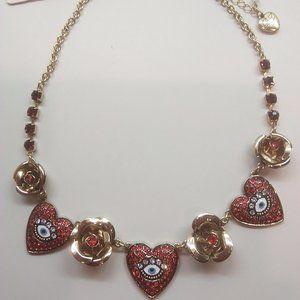 Betsey Johnson New Eye/Rose Necklace